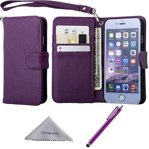 (iPhone 6 Plus/6s Plus Case, Wisdompro Premium PU Leather 2-in-1 Protective Folio Flip Wallet Case with Credit Card Holder/Slots & Wrist Lanyard for Apple 5.5
