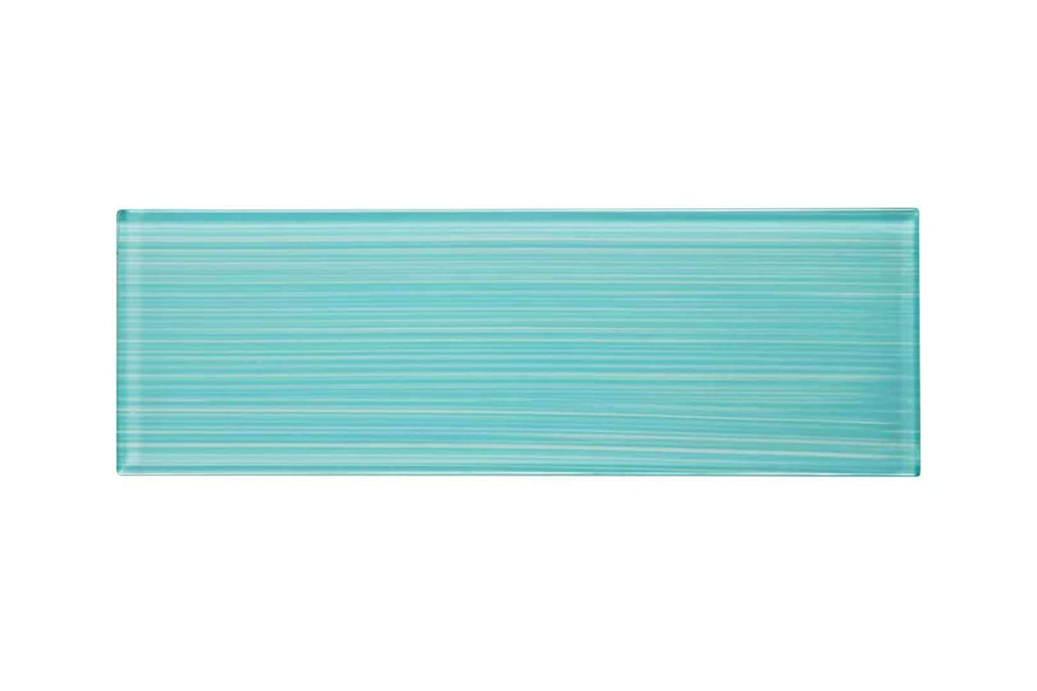 Glass Subway Backsplash Tile Bambu Hand Painted Series for Kitchen and Bathroom by WS Tiles 3 x 6 Mosaic 5 SqFt, Sky Blue WST-26CH
