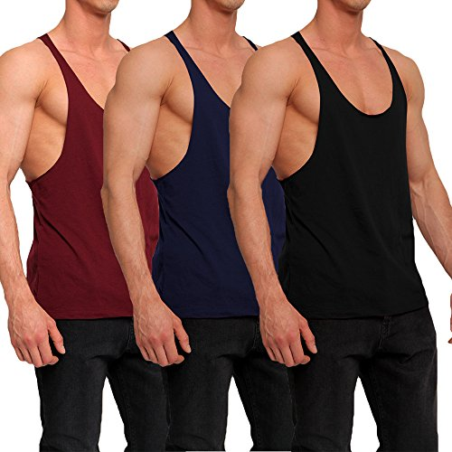 OA 3 Pack Save Men's Stringer Raw Edge Vest Y Back Tank Tops WR+NB+BK L - Edge Tank