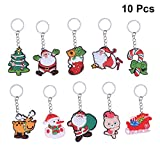 Amosfun 10pcs Keyring Keychain Christmas Car Keyring Purse Bag Pendant Decoration Christmas Birthday Gift for Friends