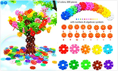 Snow Flakes Interlocking Plastic Building Disc Set STEM Toy Alternative to Building Blocks 12 Colors Pack of 600