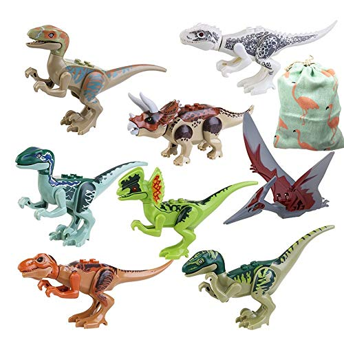 IROCH 8pcs ABS Dinos Toy,Dinosaur Building Blocks Miniature Action Figures by IROCH