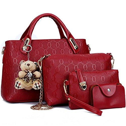 Leather Shoulder Purse Handle Bag Handbag Fivelovetwo 4pcs Women Purple Satchel Set Red Pu Large Hobo Top Tote Card Holder w6fz6x