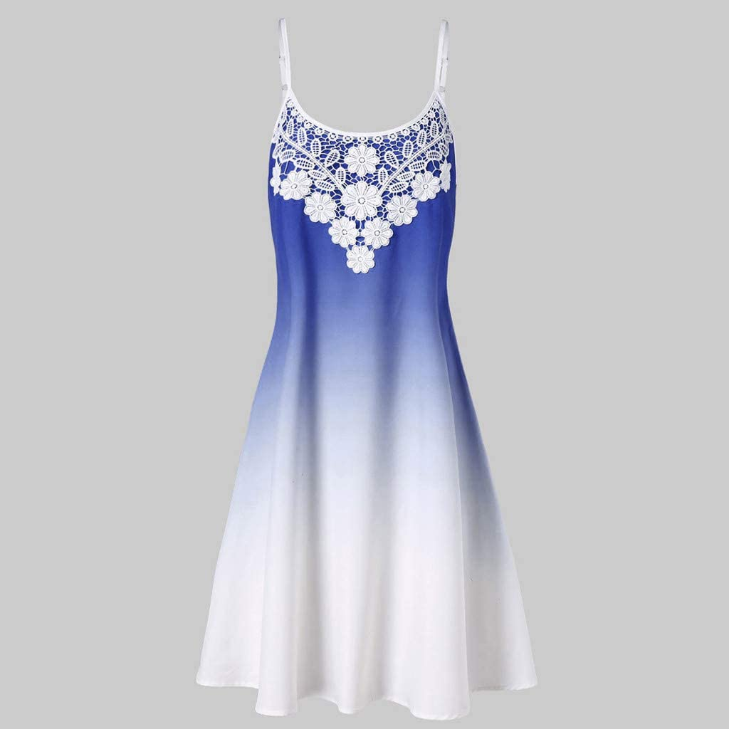 Women Casual Sleeveless Lace Printed Gradient Color Trapeze Dress Women for Party