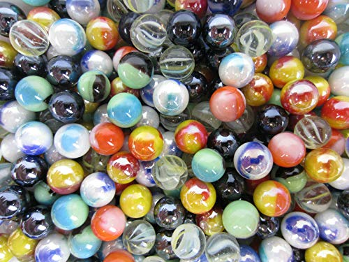Big Game Toys~Glass Pee Wee 12mm Marbles (Set of 50) from Bulk Random Assortment Lot, Decor, vase Filler, Aquarium