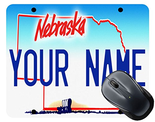 - BleuReign(TM) Personalized Custom Name Nebraska State License Plate Square Mouse Pad