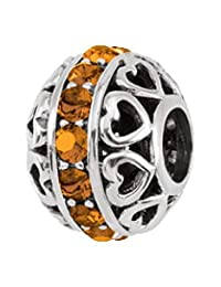 Persona Sterling Silver Yellow Austrian crystals November Charm Bead Fits European Bracelets
