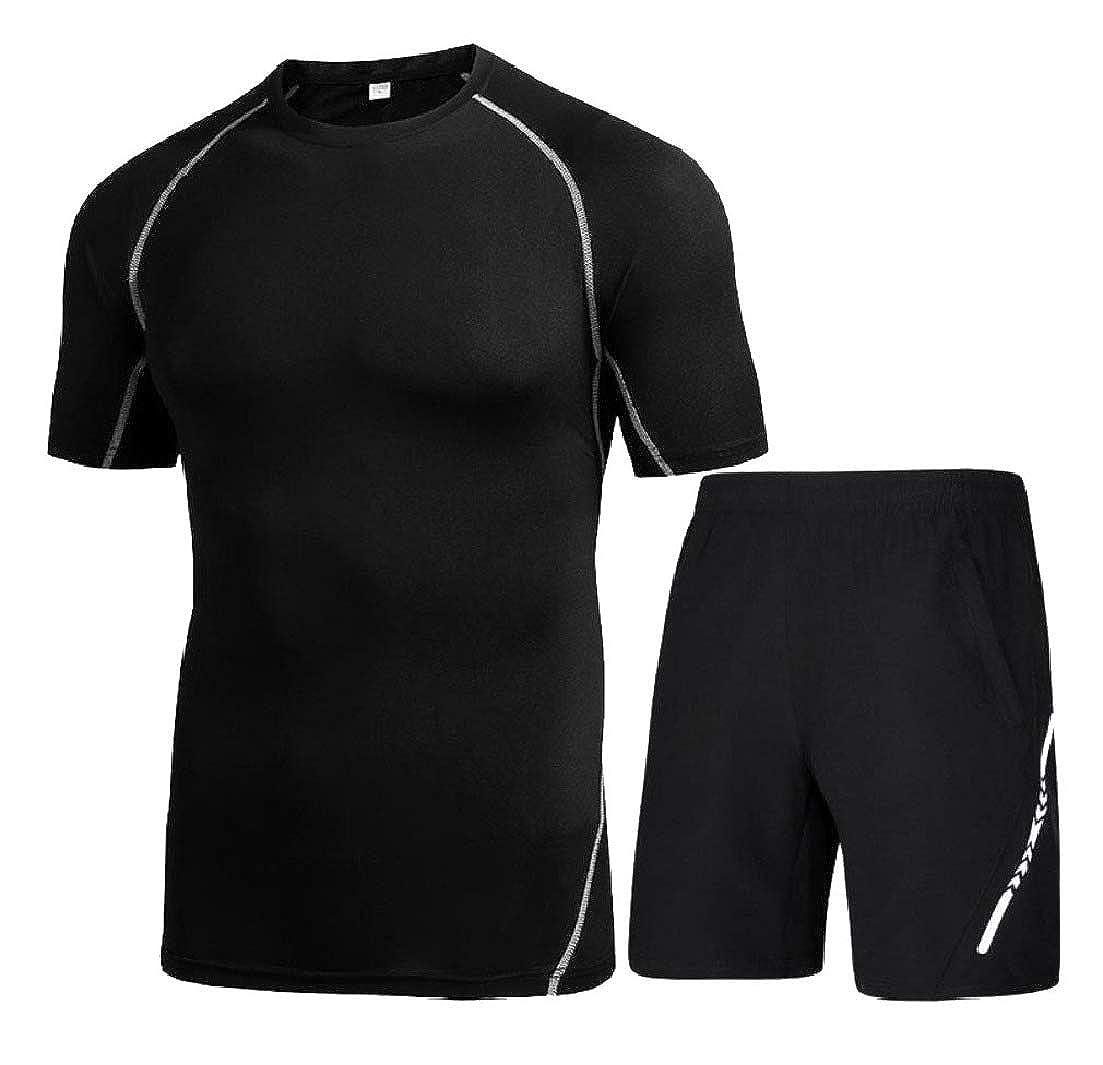 Zimaes-Men Fast Dry Short Sleeve Breathable Jammer Compression Baselayer