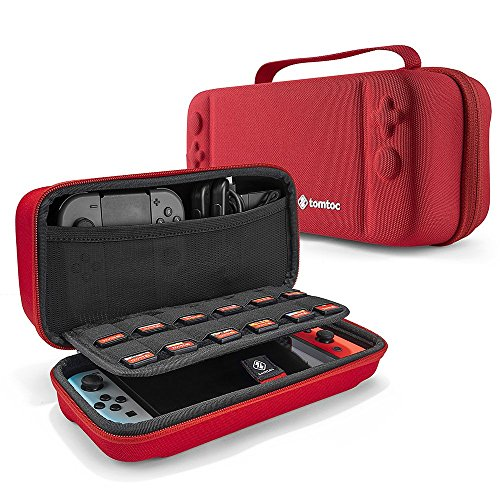 Hard Storage Case Compatible with Nintendo Switch, tomtoc Original Protective Hardshell Travel Handle Case Carrying Bag Cover fit Nintendo Switch Console and Accessories, 18 Game Card Slots by Tomtoc