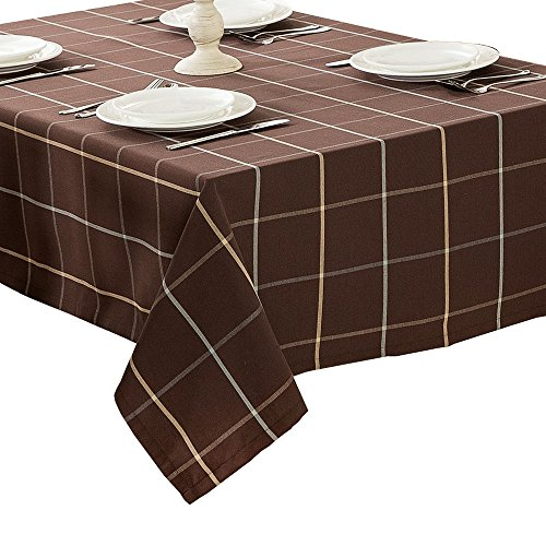 R.LANG Heavy Weight Fabric Tablecloth Oval 60 x 84-inch Spillproof Jacquard Tablecloth Coffee (Jacquard Tablecloth 60x84)