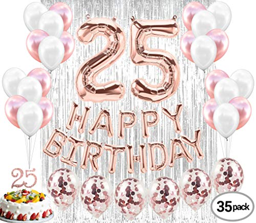 25th Birthday Decorations | 25 Birthday Party Supplies | 25 Cake Quarter of Century 25 | Silver Curtain Backdrop Props for Photos 25th Bday
