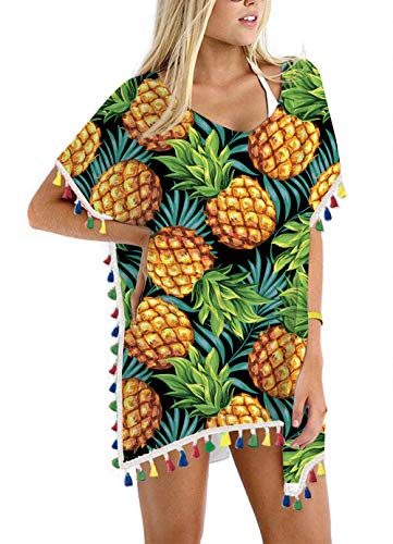 Women's Tropical Hawaiian Pineapple Chiffon Rainbow Tassel Beach Swimwear Cover Up Swimsuit Beach Dress Pom Pom Trim Kaftan Bikini Swimwear Cover-Ups