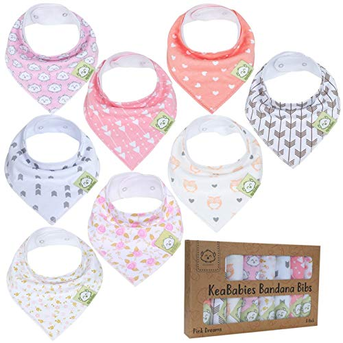 Baby Bandana Drool Bibs for Girls - Super Absorbent Organic Cotton Bandana Bibs - Baby Drool Bib - Teething Bibs - Handkerchief Bibs for Infant, Toddler - 8-Pack Bib Set - Bib Girl (Pink Dreams) ()