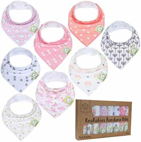 Baby Bandana Drool Bibs for Girls - Super Absorbent Organic Cotton Bandana Bibs - Baby Drool Bib - Teething Bibs - Handkerchief Bibs for Infant, Toddler - 8-Pack Bib Set - Bib Girl (Pink Dreams)