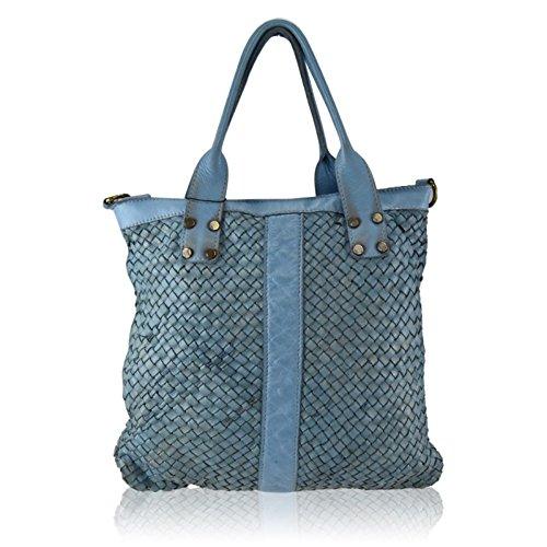 Borsa a tracolla donna in vera pelle intrecciata vintage made in italy cuoio Blu