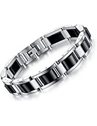 Feraco Men Sleek Stainless Steel Magnetic Therapy...