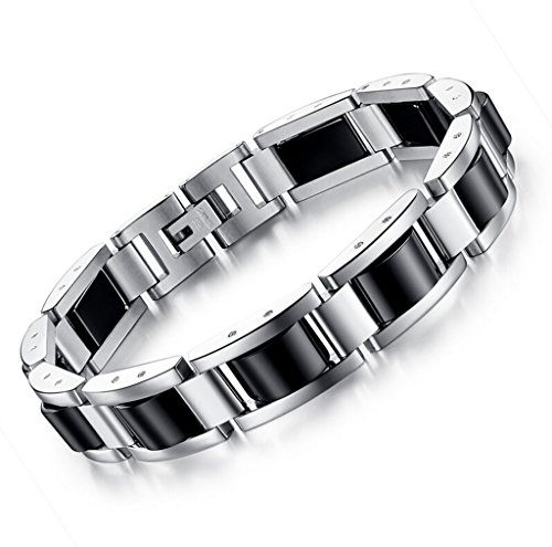 (Feraco Stainless Steel Mens Magnetic Therapy Bracelets for Arthritis Pain Relief with Remove Tool,Black 8.66 inch )