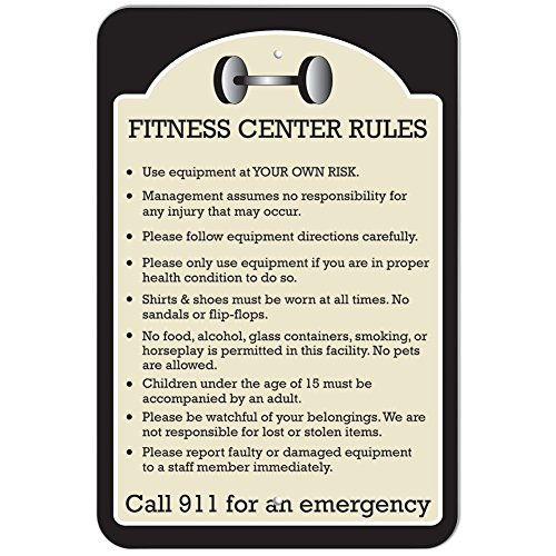 Plastic Sign Fitness Center Rules - 12