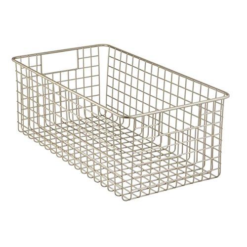 MDesign Wide Wire Storage Basket For Kitchen, Pantry