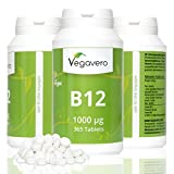 Vitamin B12 Methylcobalamin *1 Year Supply* | 1000 mcg per Tablet, Highly Dosed | with Added B6 + Folic Acid | Small, Easy To Swallow Tablets | VEGAN by Vegavero