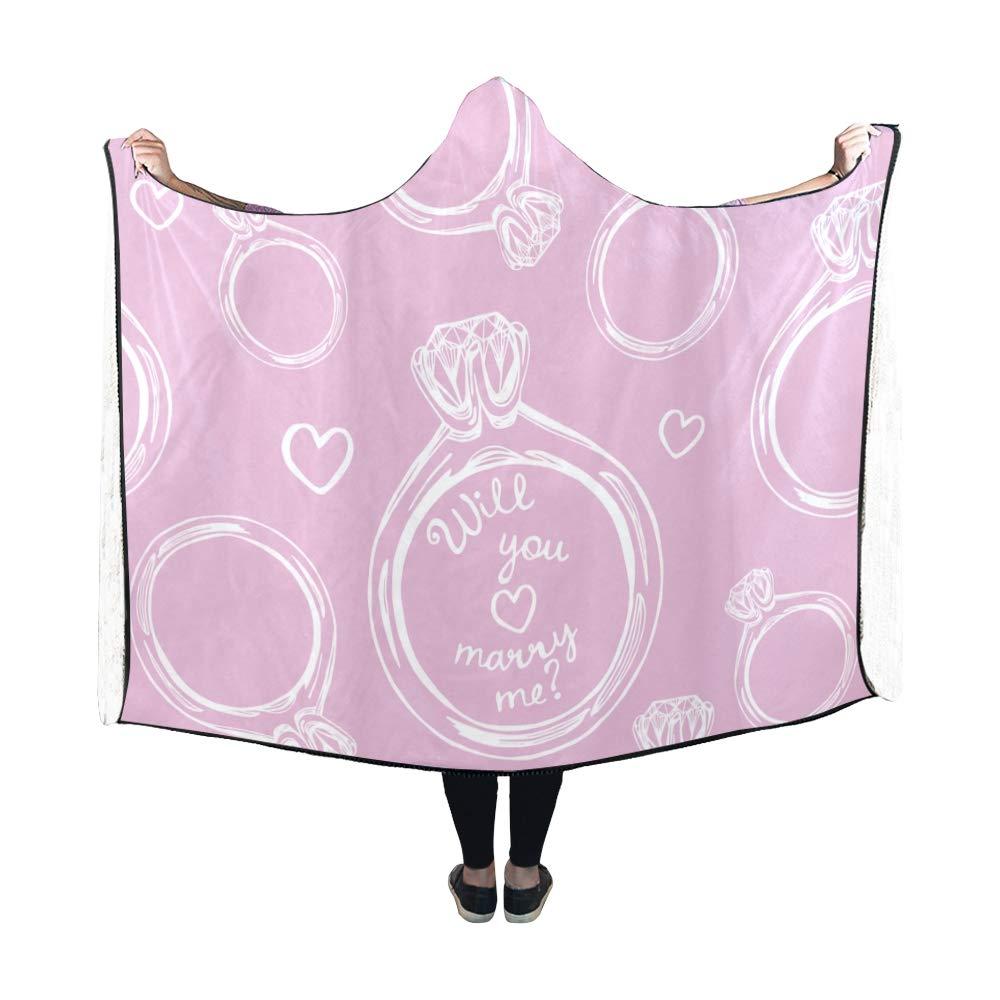 XINGCHENSS Hooded Blanket Wedding Ring Romantic Couple Diamond Blanket 60x50 Inch Comfotable Hooded Throw Wrap