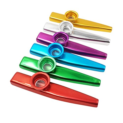 Colors of Metal Kazoo (A Good Companion for Guitar, Ukulele, Violin, Piano Keyboard) (6 Pack) ()