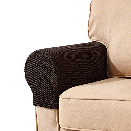 Subrtex Spandex Stretch Fabric Armrest Covers Anti-Slip Furniture Protector Armchair Slipcovers for Recliner Sofa Set of 2(Chocolate Jacquard) (Covers Leather Arm Chair)
