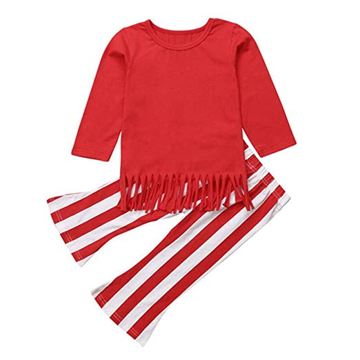 131c8264cf8bf chinatera Little Girls Clothes Set Toddlers 2pcs Tassel Long Sleeve T-Shirt Stripe  Bell-
