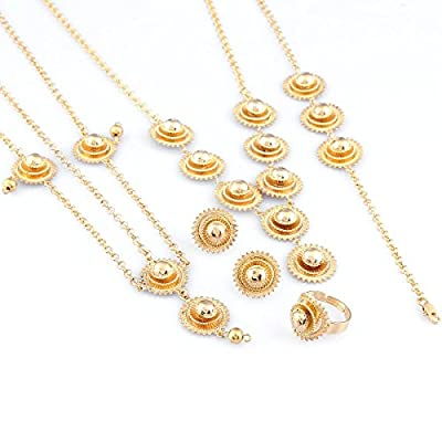Top Women Ethiopian Jewelry Set 24k Gold Plated Girl Eritrea Africa Wedding Jewelry Set supplier