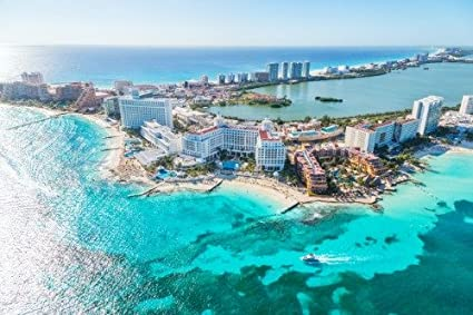 Amazon Com Cancun Mexico Skyline Glossy Poster Picture Photo Banner Aerial View Beach Posters Prints