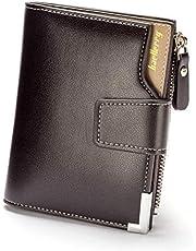 محفظة جلدية ثلاثية الطيات للرجال لحمل كروت الائتمان، محفظة للرجال بسوستة (بني)-QB40-1