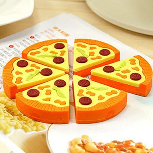 Erasers Set Pizza Box Gift Cute Creative 1 = 6 Pieces Designs,send Random And Mix