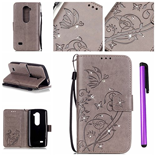 LG H340N LG Leon Case LG Tribute 2 Case EMAXELER Creative Wallet Card Slot View Stand PU Leather Protective Leather Cover Case for for LG Tribute 2 LG Leon LTE C40 H340N Butterfly Gray