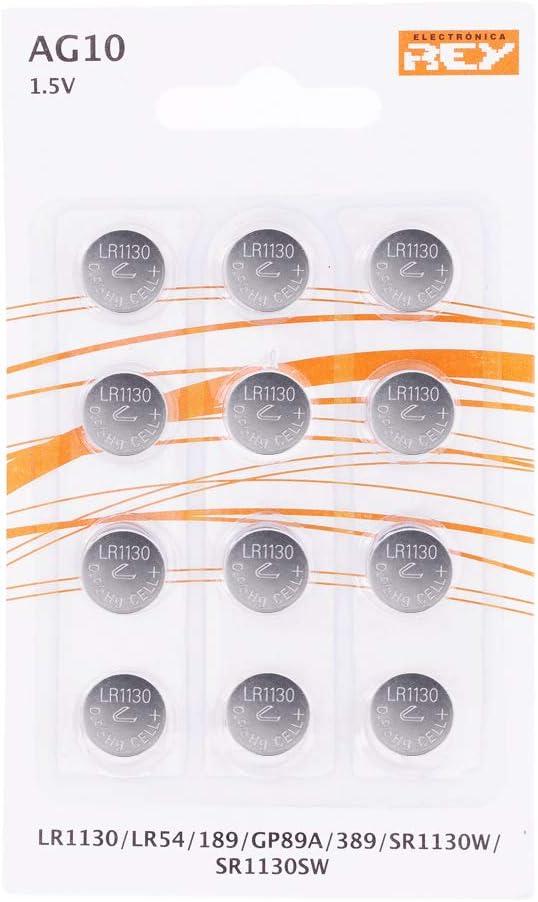 Pack de 12 Pilas AG10 1.5V Tipo Botón de Litio, LR1130, LR54, 189, GP89A, 389, SR1130W, SR1130SW