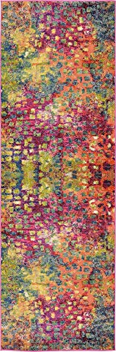 Unique Loom Jardin Collection Colorful Abstract Multi Runner Rug (2' 7 x 8' 0)