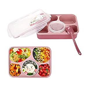 Kaimao Bento Boxes Leakproof Microwave and Dishwasher Safe Lunch Boxes with 5+1 Separated Containers (Pink)