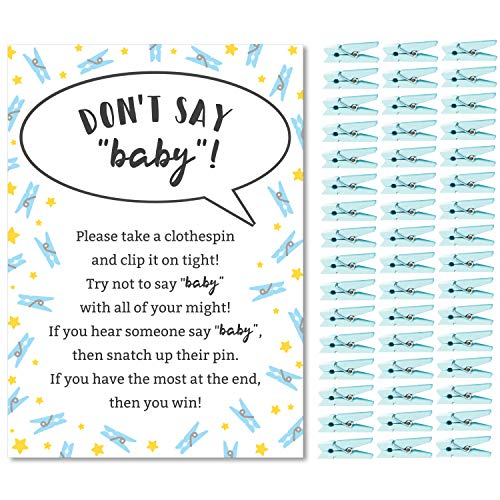 All Star Pin Game (Don't Say Baby Game for Boys Baby Shower Clothespin Game Includes One 5x7 Sign and 48 Mini Blue Clothespins)