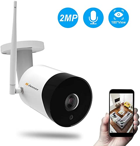 Fisheye WiFi Security Camera, Jennov Wireless IP Security Camera Outdoor Weatherproof Indoor Baby Monitor with 2-Way Audio Night Vision for Kids Pets Elderly Home Surveillance 180-Degree Large View