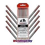 "WeldingCity 10 TIG Welding Tungsten Electrodes 2% Thoriated (Red) 1/8""x7"" (10Pk Box)"