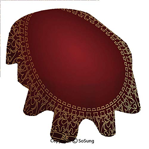 SoSung Maroon Oval Polyester Tablecloth,Vintage Frame with Gold Colored Eastern Motifs Traditional Retro Classic Artwork,Dining Room Kitchen Oval Table Cover, 60 x 120 inches,Maroon - Frame Laminated Gold