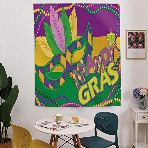 Mardi Gras Blackout Window curtain,Free Punching Magic Stickers Curtain,Colorful Bands with Vivid Beads Feathers Mask and Crown Symbol Decorative,for Living Room,study, kitchen, dormitory, Hotel,Magen ()