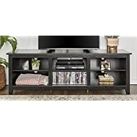 WE Furniture 70 Black Wood TV Stand Media Console