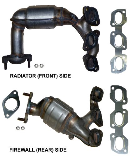 Emissions Catalytic Converter (Ford Escape 3.0 V6 (2001-2006) Catalytic Converter Manifold Set; Side: Radiator, Front, Bank 2, LHS and Side: Firewall, Rear, Bank 1, RHS - Not For California Emission Vehicles)