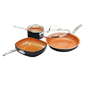 "Gotham Steel 1808 Nonstick 5 Piece Essential Cookware Set with 9.5"" Square, 2 qt. Pot and 11"" Fry Pan with Lid, Brown"