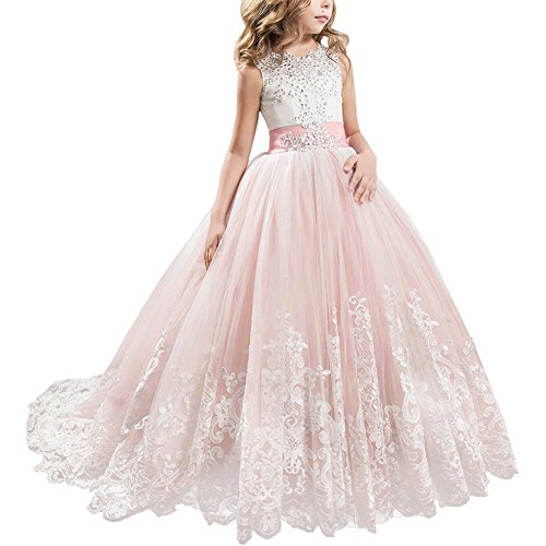 (Little Big Girls' Flower Lace Princess Long Pageant Dresses Prom Tulle Ball Gown Wedding Bridesmaid Floor Length Dance Evening #A Pale Pink 10-11)