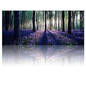 """Visual Art Decor Framed Large Purple Canvas Wall Art Mild Sunshine Lavender Forest Landscape Tree Wall Art Picture Prints Ready to Hang for Home Office Living Room Bedroom Decoration (20""""x48"""") 118"""