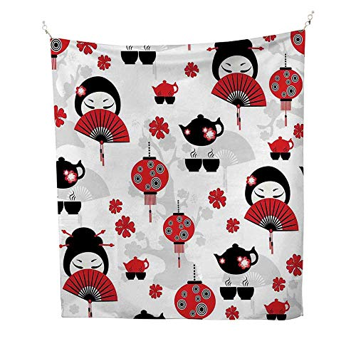 Lanternoutdoor tapestryGeisha Japanese Fan Ancient Chinese Traditional Tea Pot Lanterns Floral Graphic Design 70W x 84L inch Ceiling tapestryBlack Red