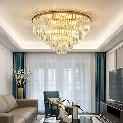 Healer 31.5 inch Luxury Crystal Chandelier Ceiling Light Fixture with 13 E14 Lamp Holder, Gold Finish Flush Mount Decorative Hanging Lighting with Remote Control for Living Room Bedroom Restaurant