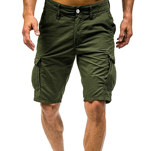 (POHOK Men Shorts Loose Summer Mens Fashion Mid-Rise Men's Shorts Casual Multi-Pocket Tooling Pants Army Combat Cargo (L,y-Army Gray))