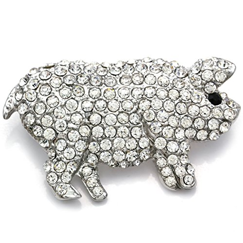 Soulbreezecollection Pig Hog Farm Animal Brooch Pin Clear Rhinestones Fashion Jewelry for Women Teens (Pig Brooch)